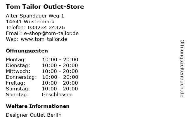 Tom Tailor Outlet-Store in Wustermark: Adresse und Öffnungszeiten