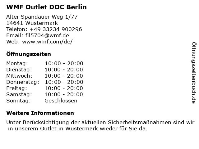 WMF Outlet DOC Berlin in Wustermark: Adresse und Öffnungszeiten