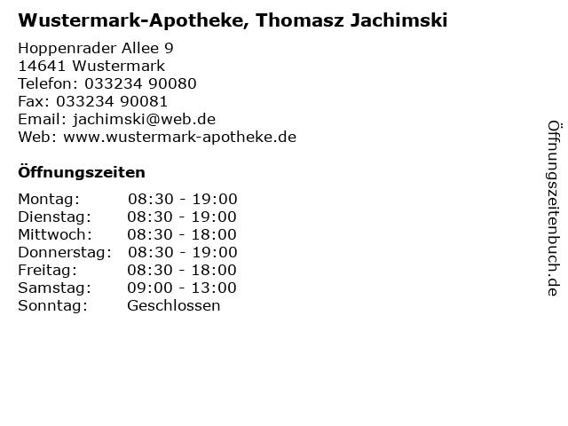 Wustermark-Apotheke, Thomasz Jachimski in Wustermark: Adresse und Öffnungszeiten