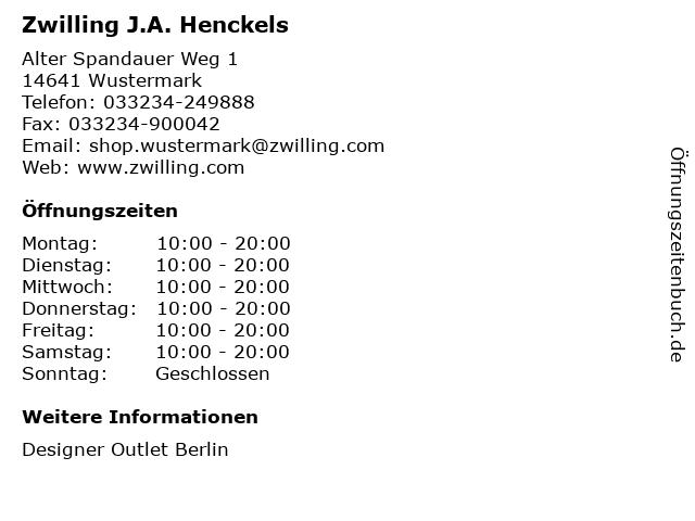 Zwilling J.A. Henckels in Wustermark: Adresse und Öffnungszeiten