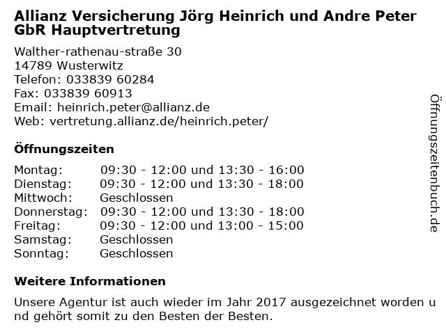 Allianz Versicherung Jörg Heinrich und Andre Peter GbR Hauptvertretung in Wusterwitz: Adresse und Öffnungszeiten