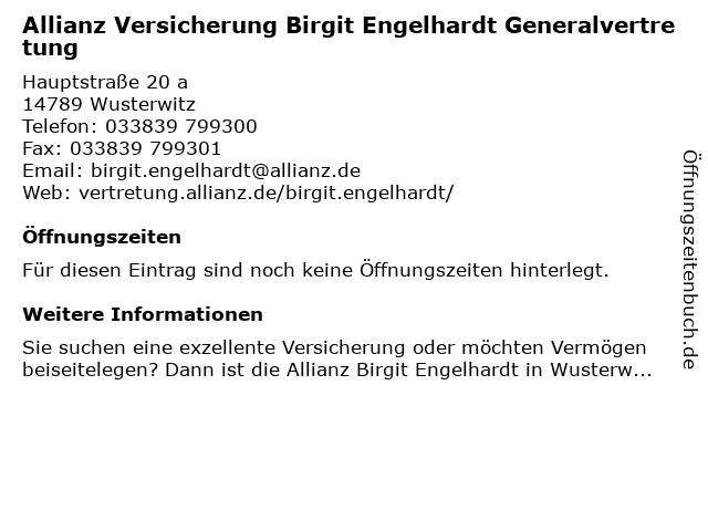 Allianz Vertretung Birgit Engelhardt in Wusterwitz: Adresse und Öffnungszeiten