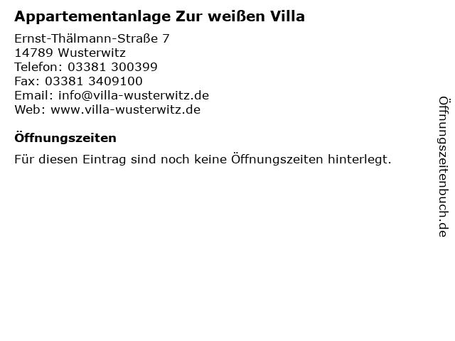 Appartementanlage Zur weißen Villa in Wusterwitz: Adresse und Öffnungszeiten