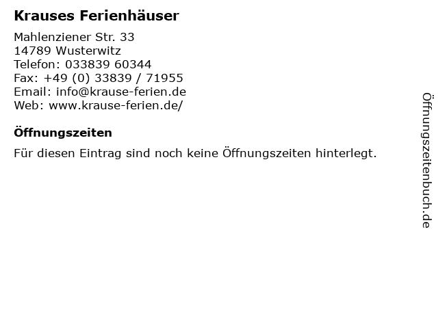 Krause Reiner Vermietung von Ferienhäusern in Wusterwitz: Adresse und Öffnungszeiten
