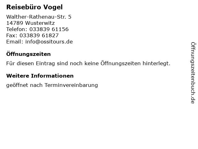 Reisebüro Vogel in Wusterwitz: Adresse und Öffnungszeiten