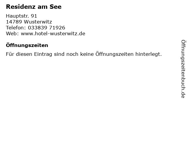 Residenz am See in Wusterwitz: Adresse und Öffnungszeiten