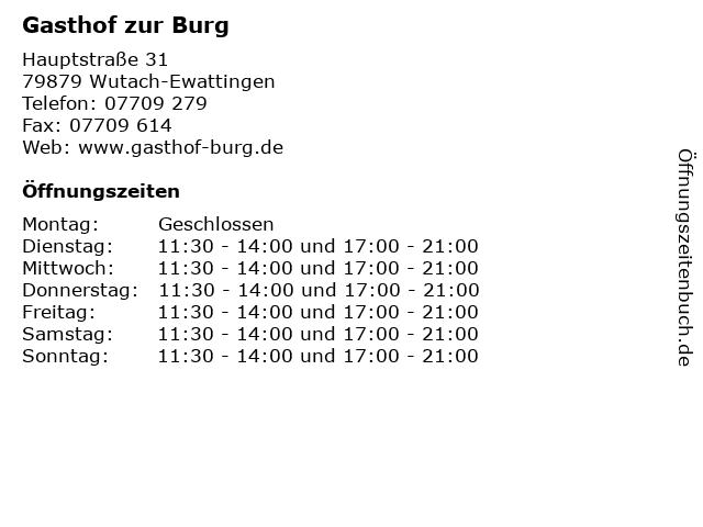 Gasthof zur Burg in Wutach-Ewattingen: Adresse und Öffnungszeiten