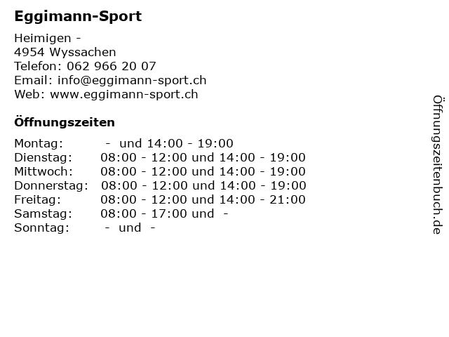 Eggimann-Sport in Wyssachen: Adresse und Öffnungszeiten