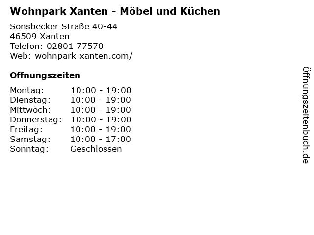 ᐅ öffnungszeiten Wohnpark Xanten Möbel Und Küchen Sonsbecker