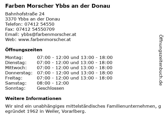 Farben Morscher Ybbs an der Donau in Ybbs an der Donau: Adresse und Öffnungszeiten