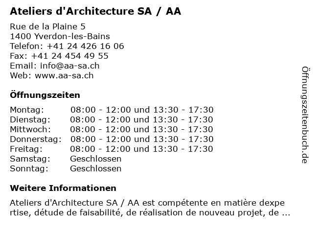 Ateliers d'Architecture SA / AA in Yverdon-les-Bains: Adresse und Öffnungszeiten