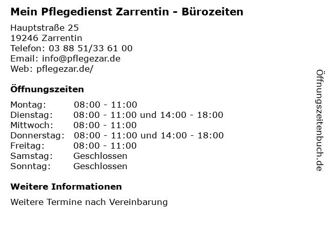 Mein Pflegedienst Zarrentin - Bürozeiten in Zarrentin: Adresse und Öffnungszeiten