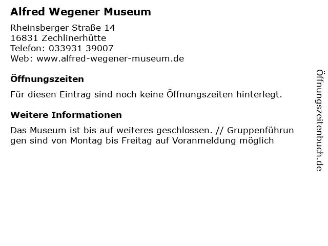 Alfred Wegener Museum in Zechlinerhütte: Adresse und Öffnungszeiten