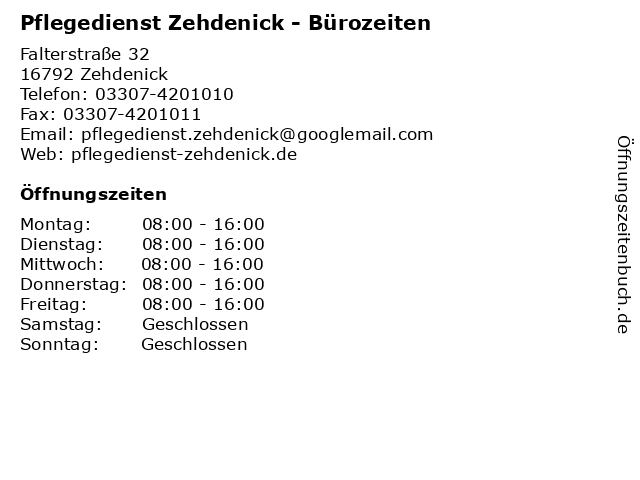 Pflegedienst Zehdenick - Bürozeiten in Zehdenick: Adresse und Öffnungszeiten