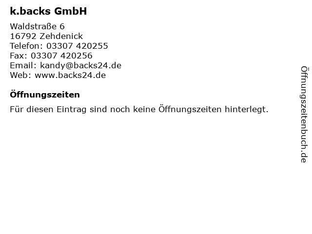 k.backs GmbH in Zehdenick: Adresse und Öffnungszeiten