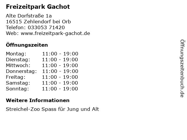 Freizeitpark Gachot in Zehlendorf bei Orb: Adresse und Öffnungszeiten