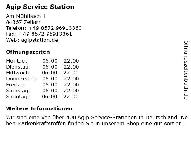 Agip Service Station in Zeilarn: Adresse und Öffnungszeiten