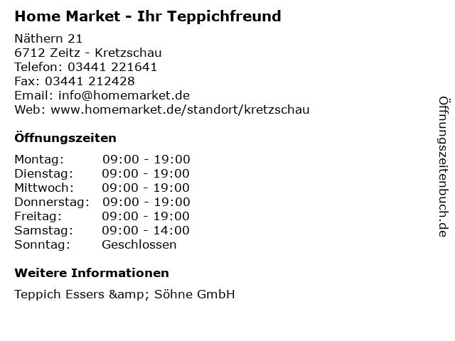 Home Market - Ihr Teppichfreund in Zeitz - Kretzschau: Adresse und Öffnungszeiten