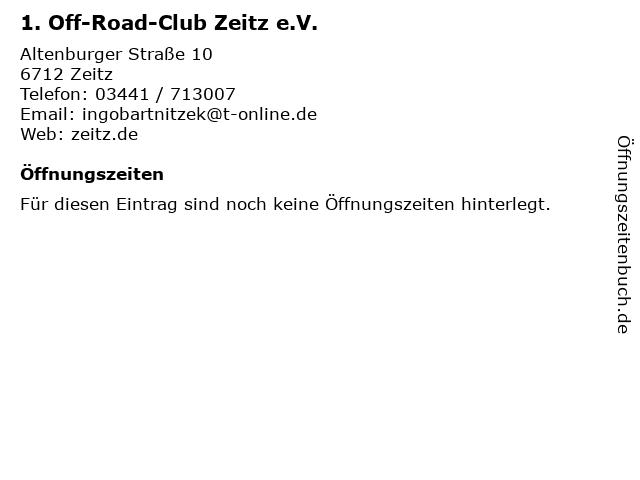 1. Off-Road-Club Zeitz e.V. in Zeitz: Adresse und Öffnungszeiten