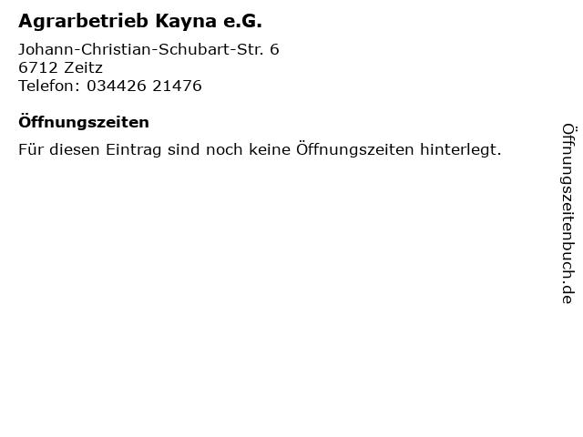 Agrarbetrieb Kayna e.G. in Zeitz: Adresse und Öffnungszeiten