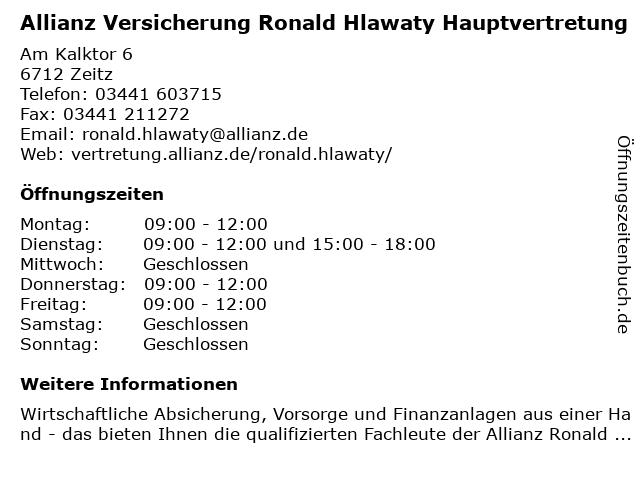 Allianz Hauptvertretung Ronald Hlawaty in Zeitz: Adresse und Öffnungszeiten