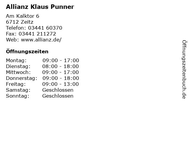 Allianz Klaus Punner in Zeitz: Adresse und Öffnungszeiten