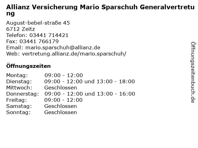 Allianz Mario Sparschuh in Zeitz: Adresse und Öffnungszeiten