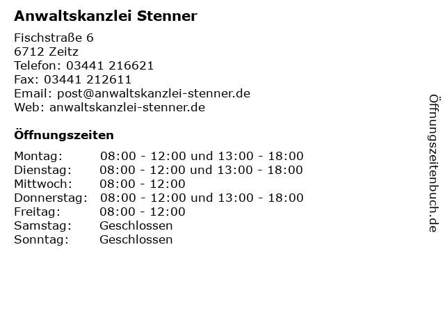 Anwaltskanzlei Stenner in Zeitz: Adresse und Öffnungszeiten