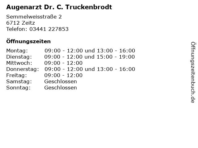 Augenarzt Dr. C. Truckenbrodt in Zeitz: Adresse und Öffnungszeiten