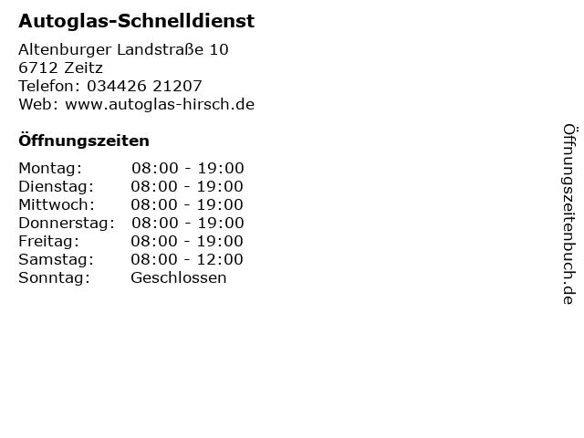 Autoglas-Schnelldienst in Zeitz: Adresse und Öffnungszeiten