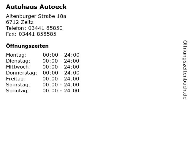 Autohaus Autoeck in Zeitz: Adresse und Öffnungszeiten