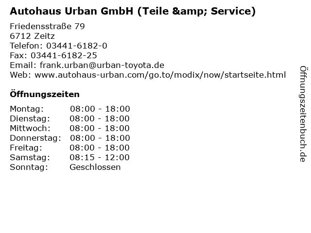 Autohaus Urban GmbH (Teile & Service) in Zeitz: Adresse und Öffnungszeiten