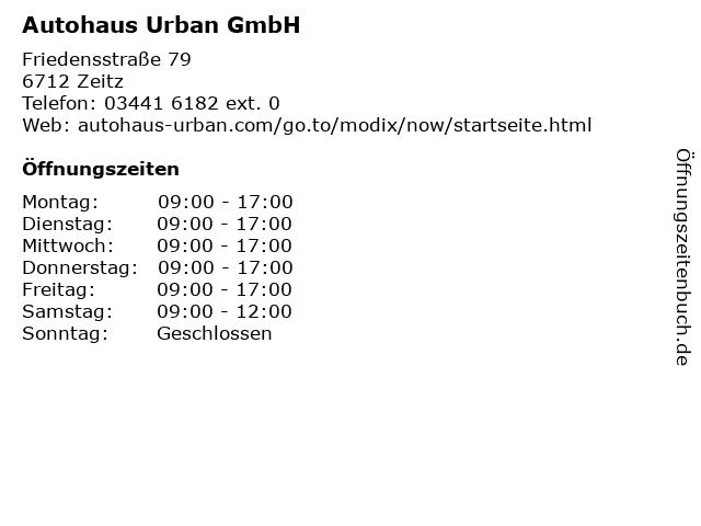 Autohaus Urban GmbH in Zeitz: Adresse und Öffnungszeiten