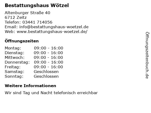 Bestattungshaus Wötzel in Zeitz: Adresse und Öffnungszeiten