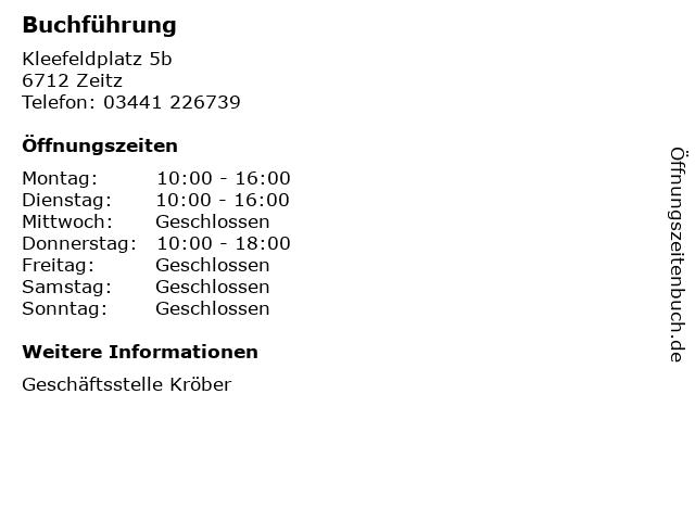 Buchführung in Zeitz: Adresse und Öffnungszeiten