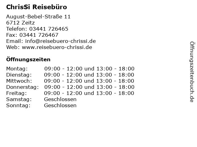 ChrisSi Reisebüro in Zeitz: Adresse und Öffnungszeiten