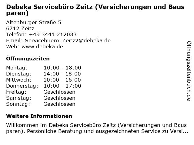 Debeka Servicebüro Zeitz (Versicherungen und Bausparen) in Zeitz: Adresse und Öffnungszeiten