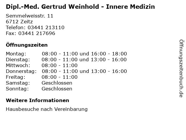 Dipl.-Med. Gertrud Weinhold - Innere Medizin in Zeitz: Adresse und Öffnungszeiten