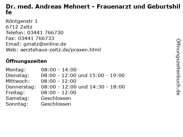 Dr. med. Andreas Mehnert - Frauenarzt und Geburtshilfe in Zeitz: Adresse und Öffnungszeiten