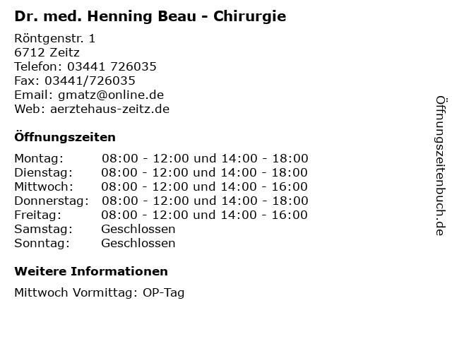 Dr. med. Henning Beau - Chirurgie in Zeitz: Adresse und Öffnungszeiten