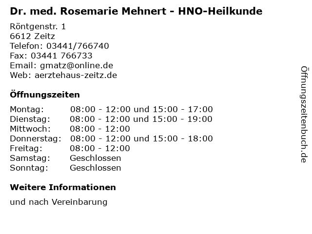 Dr. med. Rosemarie Mehnert - HNO-Heilkunde in Zeitz: Adresse und Öffnungszeiten