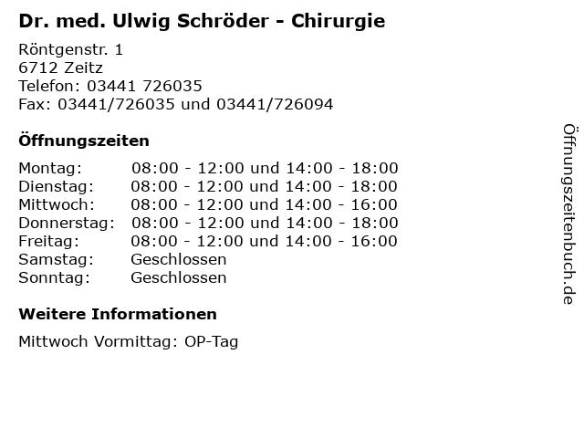 Dr. med. Ulwig Schröder - Chirurgie in Zeitz: Adresse und Öffnungszeiten