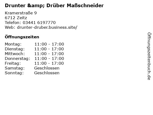 Drunter & Drüber Maßschneider in Zeitz: Adresse und Öffnungszeiten