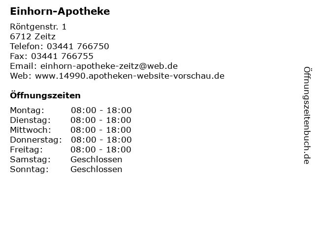 Einhorn-Apotheke in Zeitz: Adresse und Öffnungszeiten