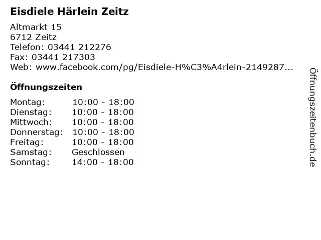 Eisdiele Härlein Zeitz in Zeitz: Adresse und Öffnungszeiten