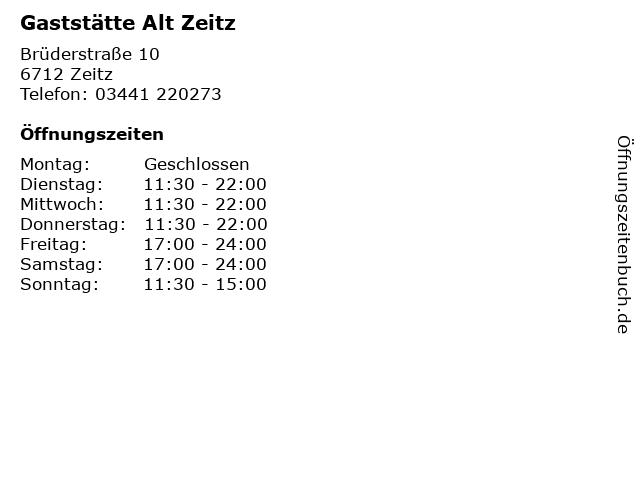 Gaststätte Alt Zeitz in Zeitz: Adresse und Öffnungszeiten