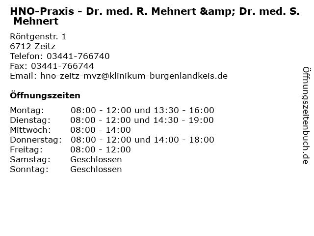HNO-Praxis - Dr. med. R. Mehnert & Dr. med. S. Mehnert in Zeitz: Adresse und Öffnungszeiten