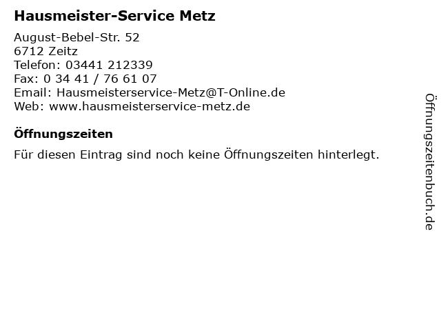 Hausmeister-Service Metz in Zeitz: Adresse und Öffnungszeiten