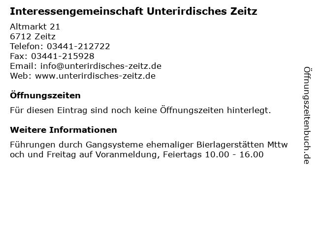Interessengemeinschaft Unterirdisches Zeitz in Zeitz: Adresse und Öffnungszeiten