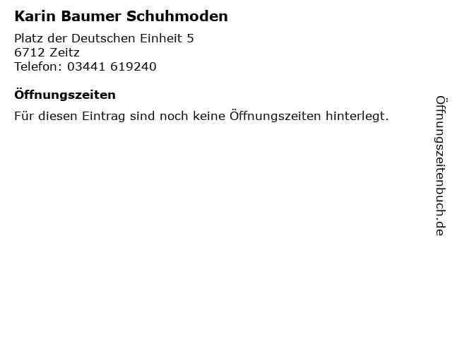 Karin Baumer Schuhmoden in Zeitz: Adresse und Öffnungszeiten